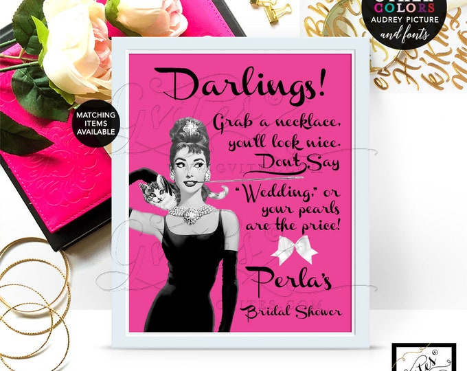 Bridal Shower Pearl Necklace Game Sign, Audrey Hepburn PERSONALIZED Pearl Necklace game, CUSTOMIZABLE picture, colors & fonts 8x10""