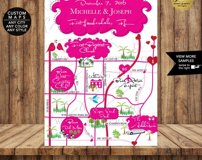 Wedding Maps For Guests - Victoria Secret Themed Inspired. Pink and Red, Love Birds and Hearts. Digital File Only!