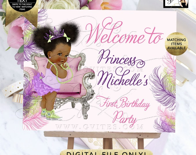 Welcome Sign, Poster, Signs Decoration, Pink Purple Lime Green Birthday, Party Princess Afro Puffs Entrance Decor, DIY, Digital, Printable.