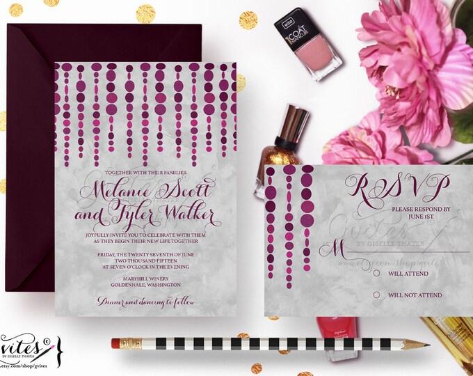 Purple and silver wedding invitations, eggplant invites, modern wedding, watercolor and plum.