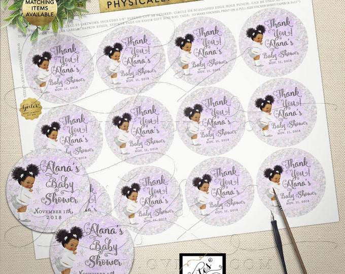 Round Stickers Party Favors Gifting, Winter Baby Shower Lavender Silver, Baby its cold outside labels Printable 2.25x2.25/12 Per Sheet