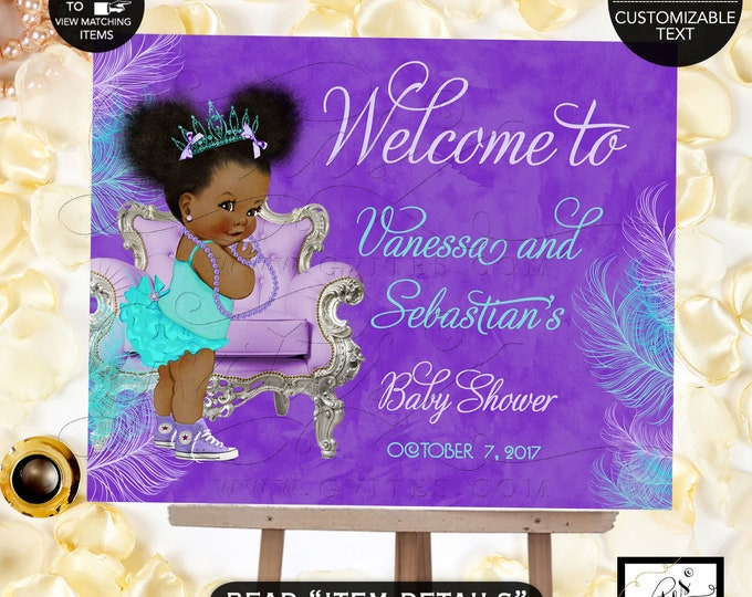 Welcome Baby Shower Sign, Purple Lavender Aqua Turquoise Blue, Princess Baby Shower, Afro Puffs African American Vintage Gvites