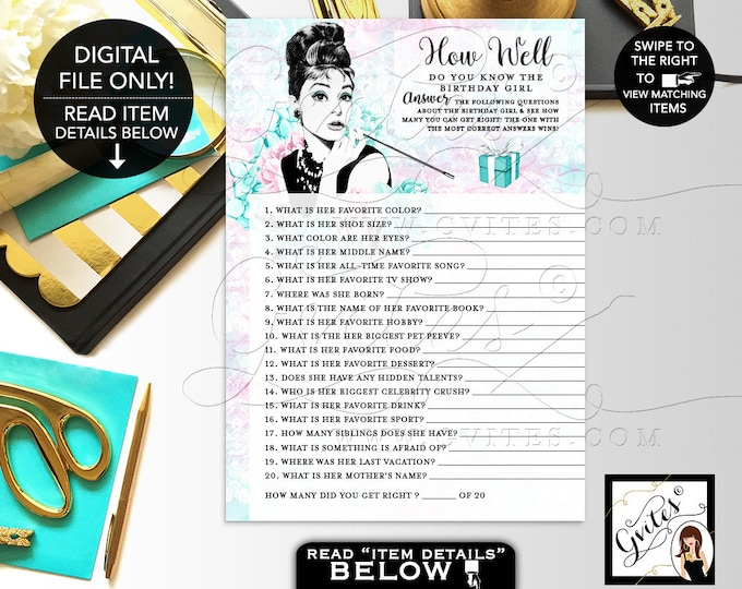 "How Well Do You Know The Birthday Girl - Audrey Hepburn party theme printable games, breakfast at co Optional Add Name  5x7"" 2/Per Sheet"
