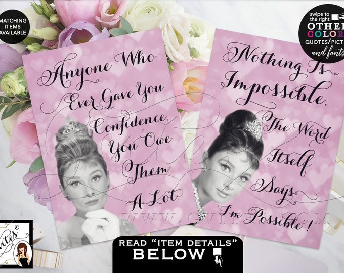 Audrey Hepburn Party Printable Quote Signs, Centerpiece, Wall Art, Favors, Gifts Decor, Bridal Shower 4x6 or 5x7 {Set of 2} Gvites