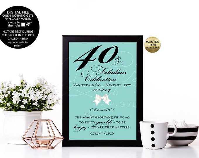40th Birthday Decorations, 40 and fabulous, 50th birthday, 60th party quote signs, table centerpiece, Audrey quotes 4x6, 5x7 & 8x10.