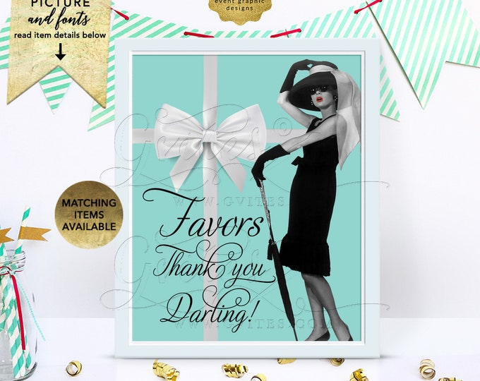 """Audrey Hepburn Table Decorations, Favors Sign, Wedding Personalized Decorations, Dessert Table, Birthday Custom Signs, 8x10"""" Digital Only!"""