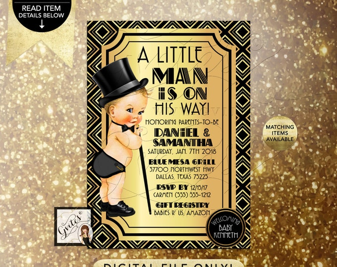 """A little man is on his way! Baby Shower Printable Invitations, Black and Gold Party Invites. 5x7"""" Digital File Only!"""