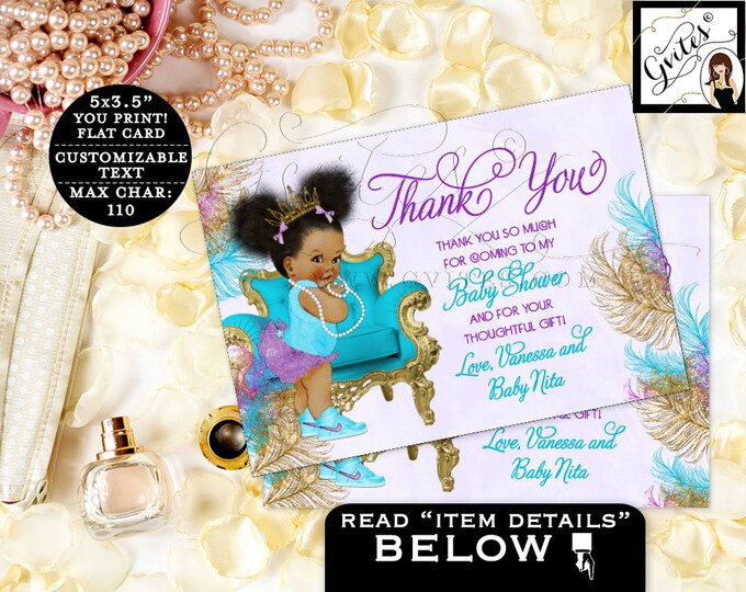 "Thank you baby shower cards purple turquoise African American flat {5x3.5"" 4 Per/Sheet} 