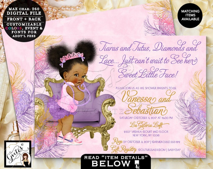 Pink Purple and Gold Baby Shower, African American Princess Invites, Afro Bun Puffs Tiara Digital file, Printable, 7x5 Double Sided. Gvites