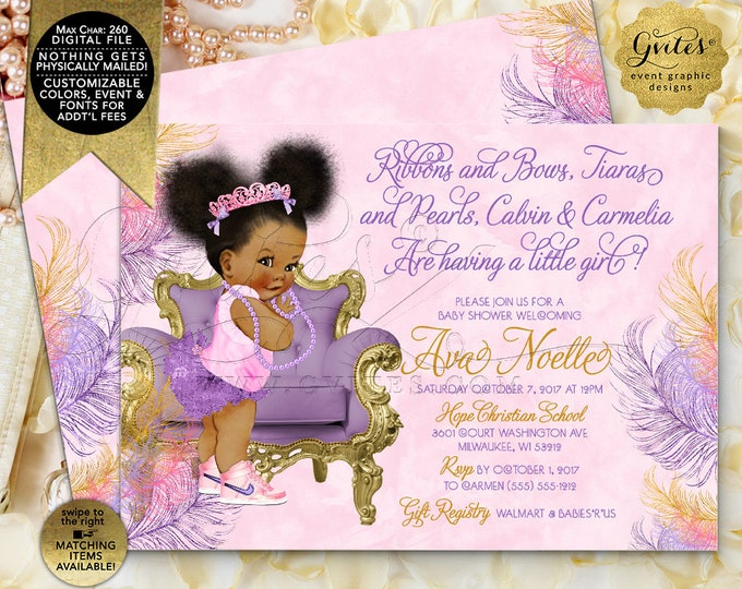 Ribbons and Bows Tiaras and Pearls Baby Shower Invitation, African American Princess Welcoming Vintage Baby Girl. Purple Gold Lavender Pink