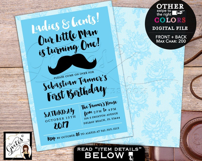 Little Man Birthday Invitation Mustache first invites 1st baby party, boy baby blue and white, double sided, 5x7 Gvites