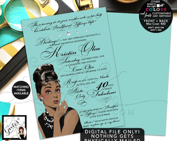 Audrey Hepburn Printable Invitation, 40th, 50th, 60th Birthday Utterly fabulous, African American, DIY, Digital, 5x7 Double Sided.