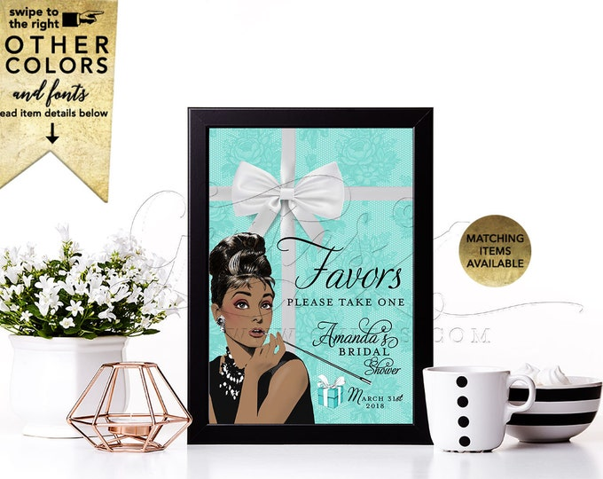 Favors Please Take One - Personalized Audrey Hepburn Party Decorations, Digital File Only!  4x6, 5x7 or 8x10