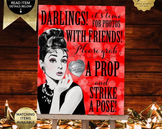 """Audrey Hepburn Photo Booth Poster Signs Printable, Mad Men 1960s Christmas Bridal Shower, Holiday Party Strike A Pose, Grab A Prop. 8x10"""""""