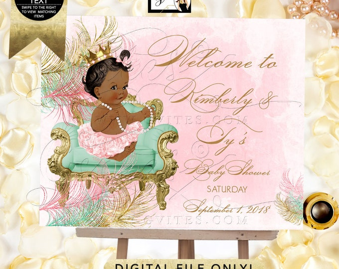 Baby Shower Welcome Signs, Pink Mint Green and Gold, Princess Vintage Baby Girl. Digital File! JPG + PDF