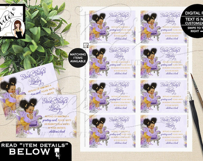 "Bring Book For Baby Inserts, Lavender Silver and Gold Afro Puffs Shower PRINTABLE Instant Download 3.5x2.5"" 8/Sheet."