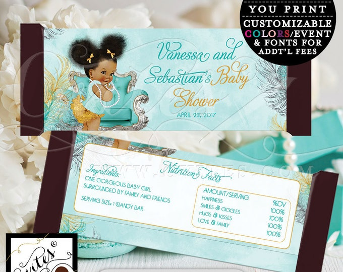 Candy bar wrappers, turquoise blue gold and silver, afro puffs vintage baby girl, coed baby shower blue themed, digital file  2-Per/Sheet.