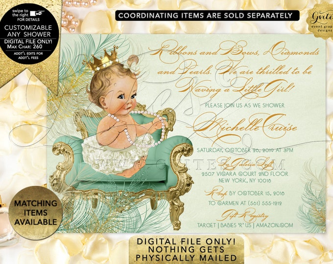Mint Gold Baby Shower Vintage Invitations | Digital File Only! JPG + PDF Format | By Gvites | Design: CWCHS-122