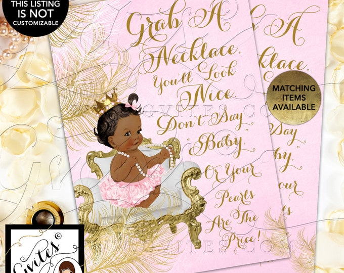 "INSTANT DOWNLOAD - Don't Say Baby Pearl Game Princess Baby Shower Vintage, 5x7"" {Baby: African American Dark/Jet~~White/Gold Feathers}"