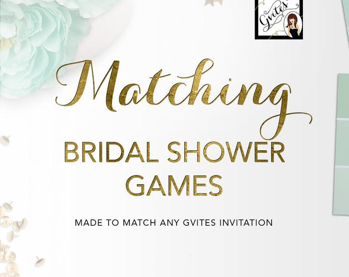 Matching Bridal Shower Games Add-on - To Coordinate with any Gvites invitation design.