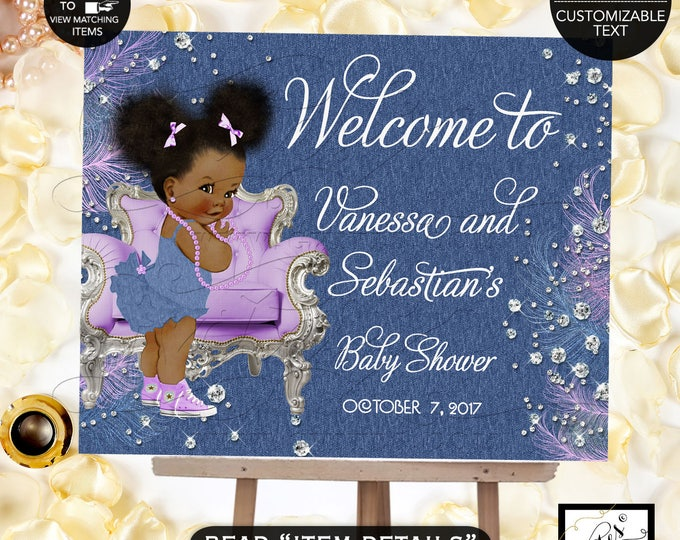 Denim & Diamonds Welcome baby shower sign, baby banner, baby shower sign, baby girl, banner. Lavender silver blue, Afro Puffs