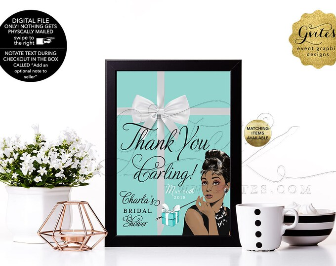 Thank You Daring Audrey Hepburn Sign Personalized, Party Decorations Thank You, Breakfast at, bridal shower {4x6 or 5x7}. Gvites