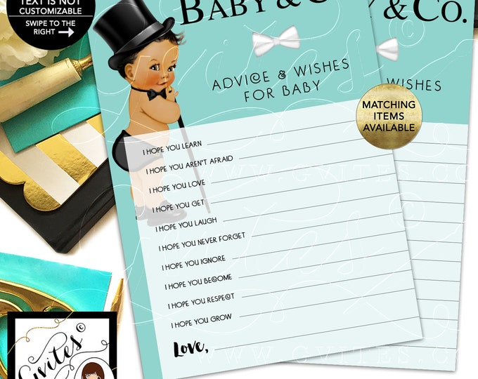 Baby and Co Advice Card, Baby Wishes, African American Vintage Boy with Top Hat and Cane. INSTANT DOWNLOAD, 5x7/2 Per Sheet {Med/Brunette}