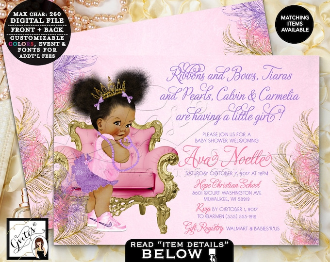 Pink Purple & Gold Baby Shower Invitation, Ribbons Bows Tiaras Pearls, Princess Baby Girl Vintage, Double Sided 7x5, Afro Puffs, Gvites