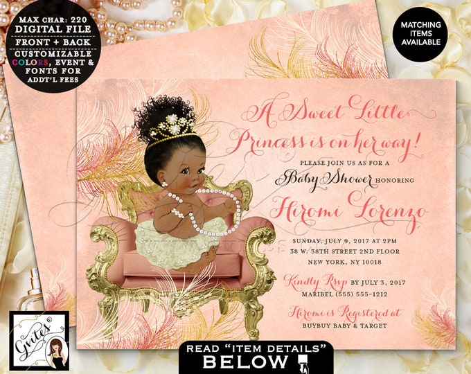 "Coral and Gold Baby Shower, African American Princess Invitation, Vintage, Ivory Gold Coral invites, digital {Double Sided, 7x5""} Gvites"