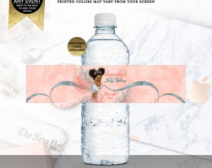 "Water Bottle Labels Coral and Silver | Afro Puffs Vintage | Printable Digital File | JPG + PDF | 8x2"" 5 Per Sheet"