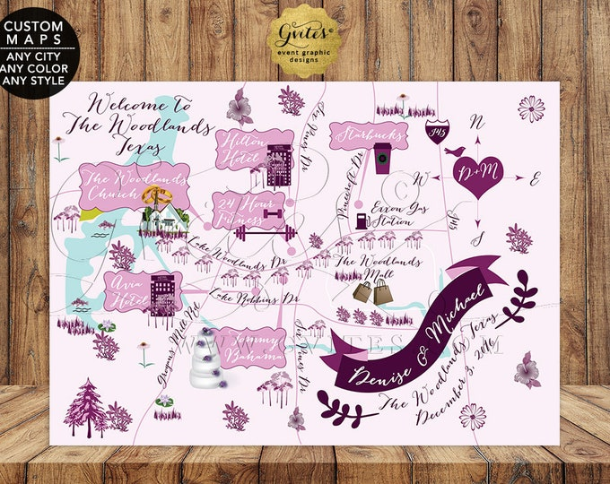 The Woodlands, Texas Custom Wedding Maps Personalized. Lavender and Purple Digital File Only! {Any City/Color/Style}