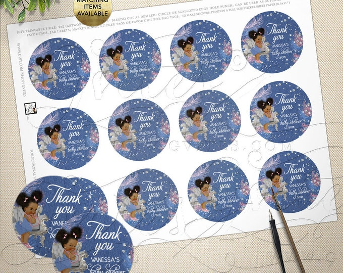Mason Jar Labels Baby Shower Printable, Denim Diamonds Pink blue silver, Afro Puffs, Custom Party Favors, Gifts, DIY Round 2x2/12 Per Sheet.