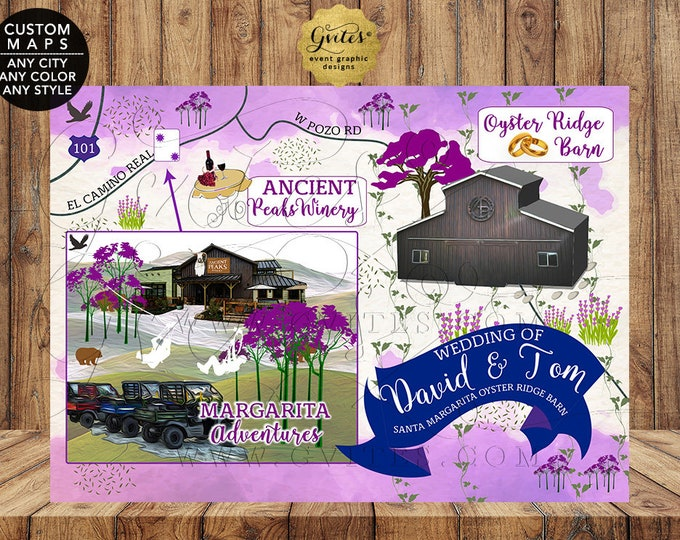 Gay Wedding Maps, Santa Margarita Oyster Ridge Barn Personalized Map  File Only! {Any City/Color/Style}