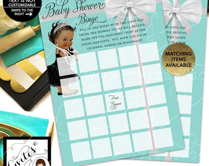 """Baby Shower Bingo Girl Printable, Baby and Company Party Games. 5x7""""/2 Per Sheet {INSTANT DOWNLOAD/Baby: Dark Jet}"""