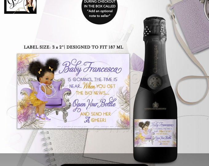 MINI Champagne Labels Baby Shower, the time is near, favors gifts, african american baby girl stickers wrappers diy, DIGITAL 3x2/9 Per Sheet