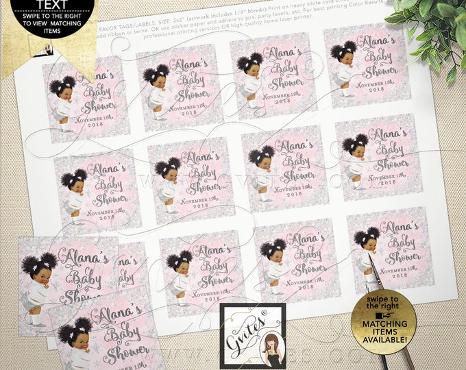 Baby Shower Winter Theme Square Tags/Labels or Stickers. DIY, Printable File, JPG + PDF Format. 2x2/12 Per Sheet