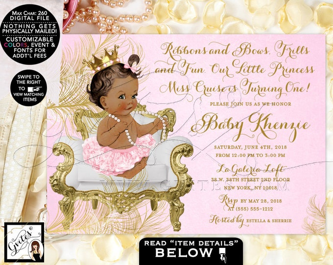 Princess Birthday Invitation Pink and Gold, Diamonds Pearls, African American, Gold Crown, Digital, Gvites. {White/Gold Feathers}