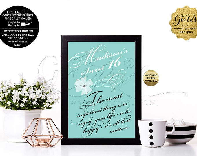 """Sweet 16 Party Decorations, Birthday signs for table centerpiece, breakfast at and co blue themed, digital file only. {4x6"""" or 5x7""""}"""