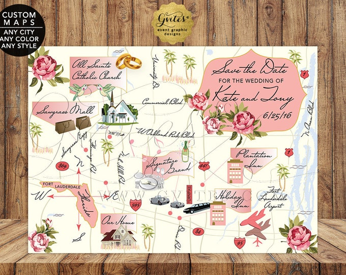 Map Save The Date Wedding Printable, Custom Maps Graphic Design, Themed Itinerary Maps, Florida, Digital File, Any City/Theme/Color/Style.