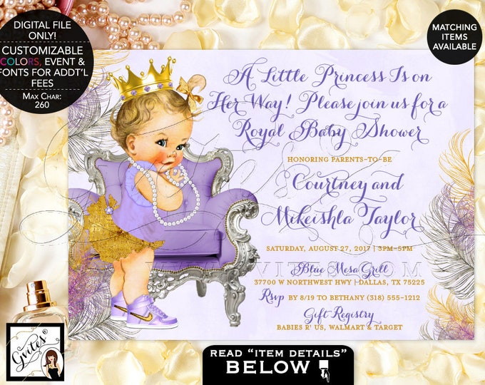 Lavender and Gold Baby Shower Invitations, Gold Crown, Princess Baby Girl Vintage Invites, Printable, Digital File Only! Gvites