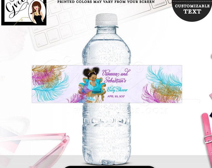 """Purple Turquoise Water bottle labels BABY SHOWER, African American stickers favors gifts afro puffs PRINTABLE 8x2"""" 5 Per/Sheet"""