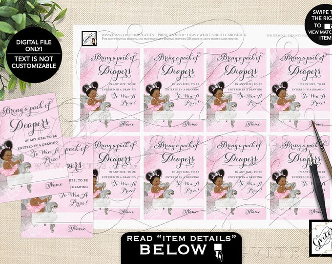 """Diaper Raffle Inserts Pink Silver Printable, Princess African American Vintage Girl, Ribbons Diamonds, INSTANT DOWNLOAD, 3.5x2.5"""" 8/Sheet"""