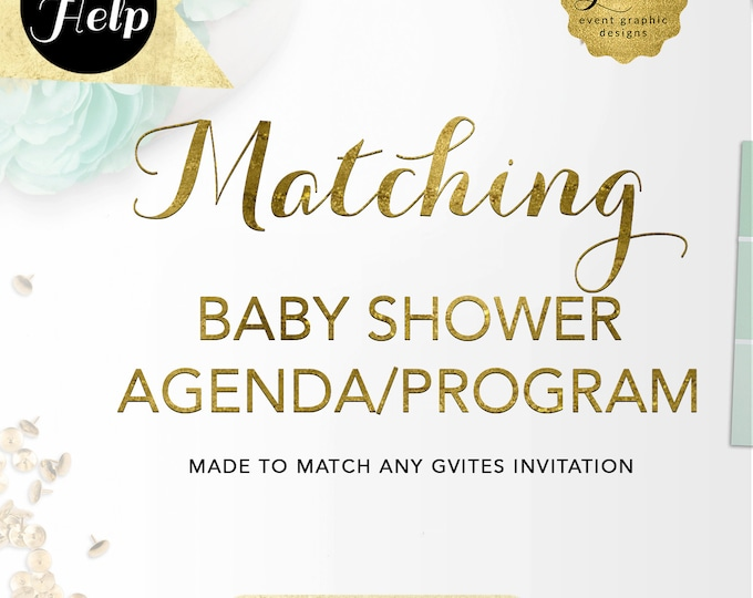 Matching Agenda/Program Cards Add-on - To coordinate with any Gvites invitation design. {Available Size(s) 4x6, 5x7 & 4x9}