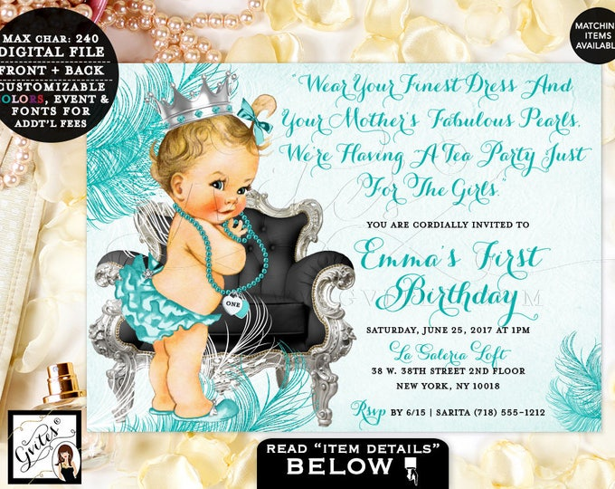 Blue and Silver, First birthday invitation Tea Party Invitation girl diamonds and pearls, vintage princess baby girl invites, 7x5. Gvites