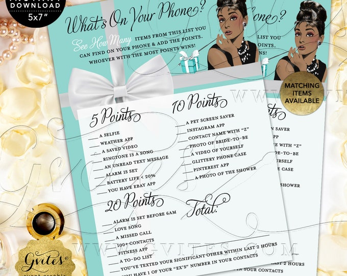 """What's On Your Phone Game Cards 