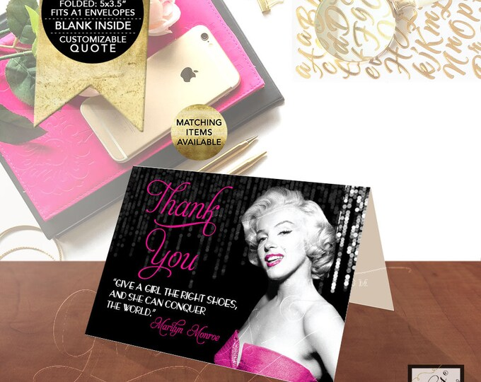 "Thank You Cards Marilyn Monroe Custom Quote - ""Give a girl the right shoes, and she can conquer the world."" Black & Pink 5x3.5"" 2/Per Sheet."