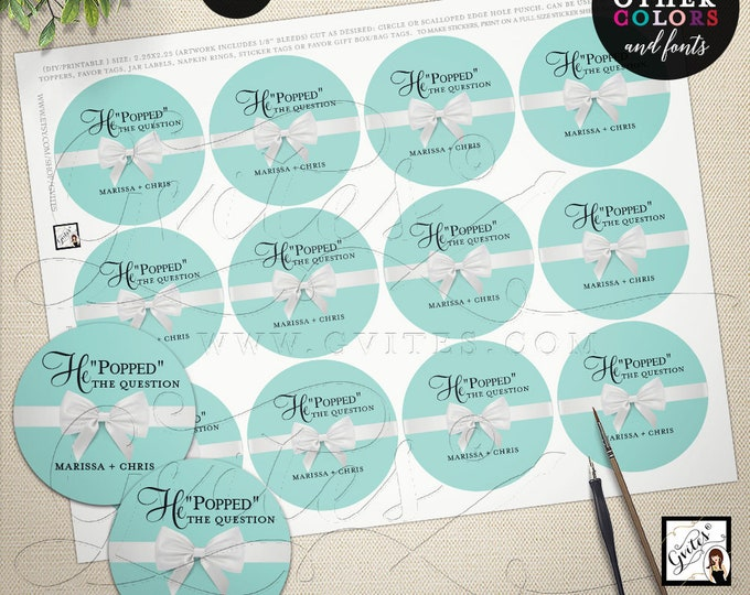 """He popped the question printable stickers, labels, breakfast at and co themed blue and white, favors, popcorn label 2.25x2.25"""" 12/Per Sheet"""