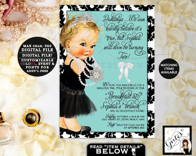 "First baby and co, Black dress, Teal and black, bordered, adorable invites, gvites invitations, blonde, Printable Invitations, 5x7"" Gvites."