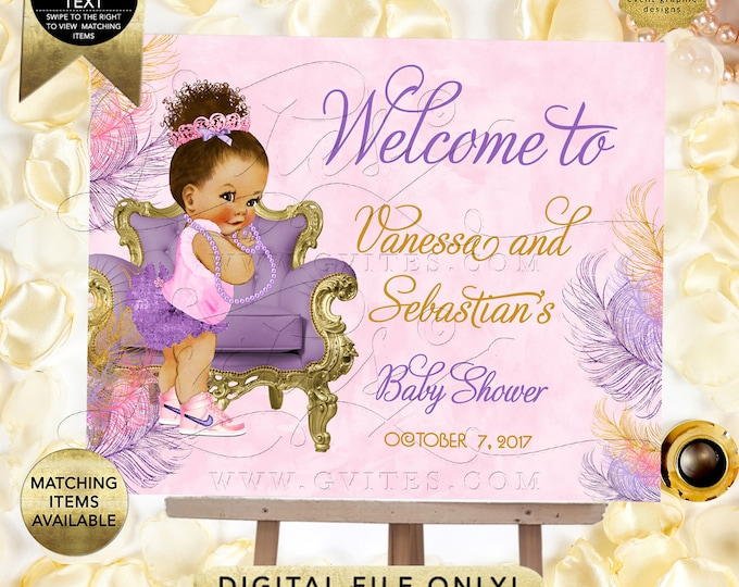Pink and Purple Welcome Baby Shower Sign, Afro bun puffs, ethnic princess printable poster signs, Printable. {Welcome Sign ONLY}