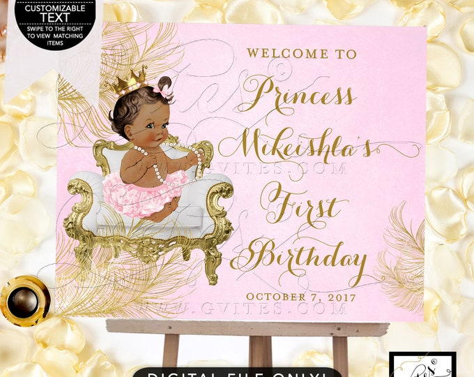 Welcome Birthday Signs Pink and Gold, Diamonds Pearls, African American, Gold Crown, Digital, Gvites. {White/Gold Feathers}